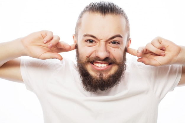 Frustrated bearded man