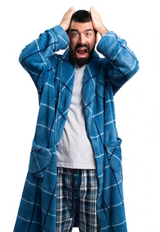 Frustrated man in dressing gown