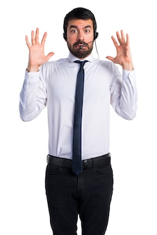 Frustrated young man with a headset