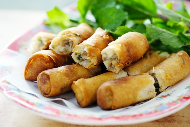 Fry spring roll, asian appetizer