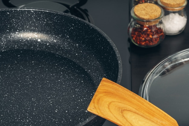 Frying pan on the gas stove in a kitchen