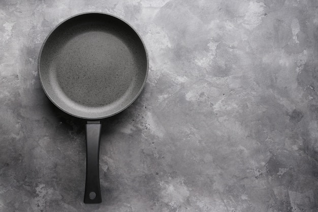 Frying pan on gray, with space for text. flat lay.
