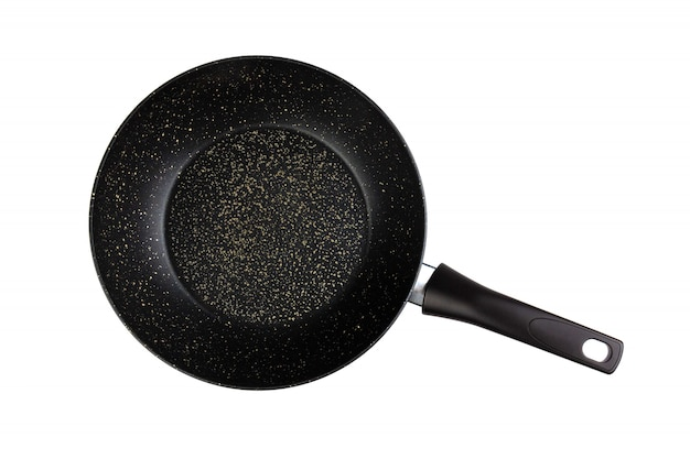 Frying pan isolated top view