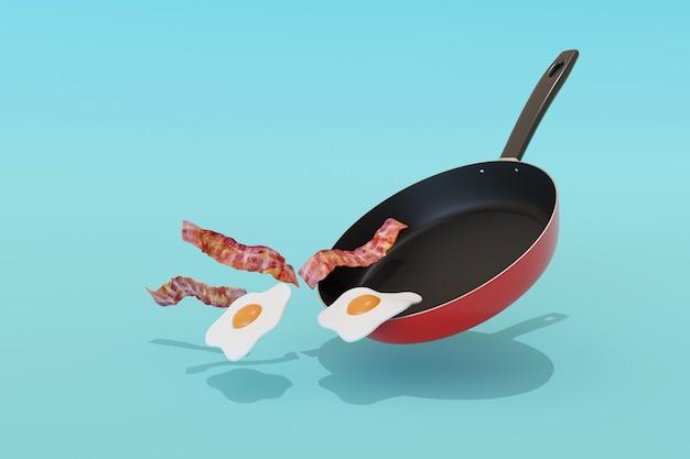 卵とフライパンとベーコンを揚げる