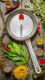 Frying pan with spices and herbs on wooden table. top view