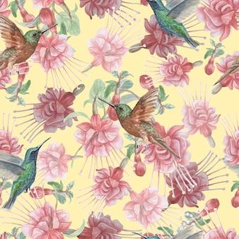 フクシアの花ハチドリ鳥水彩手描きイラスト