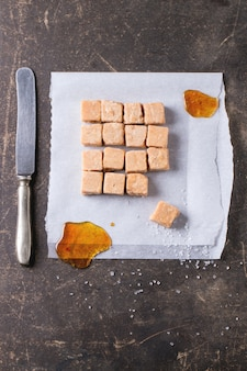 Fudge candy on tablecloth