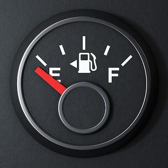 Датчик на приборной панели топлива, показывающий пустой бак на черном фоне. 3d рендеринг