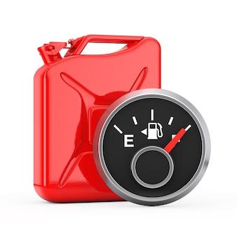 白い背景の上の赤い金属ジェリカンの前に満タンを示す燃料ダッシュボードゲージ。 3dレンダリング