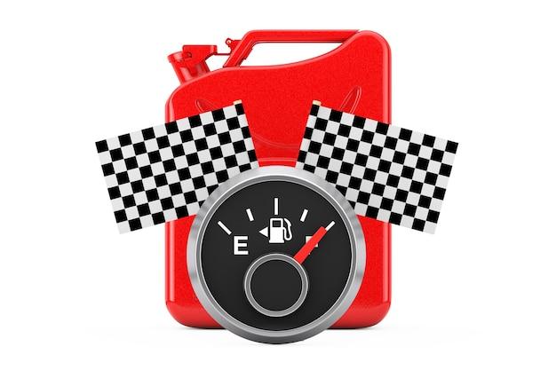白い背景に市松模様のレース旗が付いた赤い金属ジェリカンの前に満タンのタンクを示す燃料ダッシュボードゲージ。 3dレンダリング