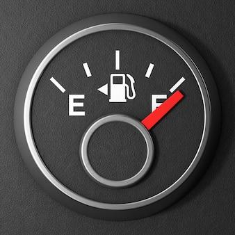 黒の背景に満タンの燃料ダッシュボードゲージ。 3dレンダリング