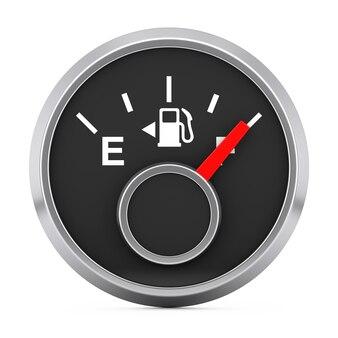 白い背景に満タンの燃料ダッシュボードゲージ。 3dレンダリング