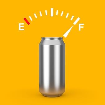 黄色の背景にあなたのデザインモックアップのための空きスペースがある空白のアルミ缶の近くに満タンを示す燃料ダッシュボードゲージサイン。 3dレンダリング
