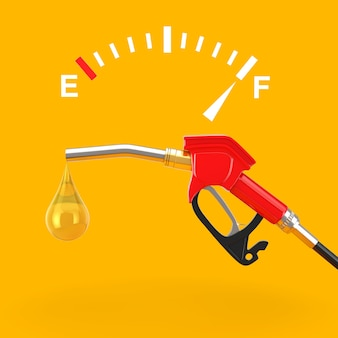 가솔린 피스톨 펌프 연료 노즐, 가스 방울이 노란색 배경에 있는 주유소 디스펜서 근처에 가득 찬 탱크를 보여주는 연료 대시보드 게이지 기호. 3d 렌더링