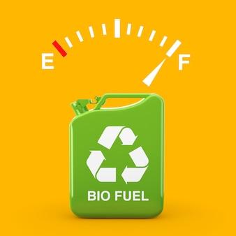 노란색 배경에 바이오 연료 표시가 있는 green metal jerrican 근처의 전체 탱크를 보여주는 연료 대시보드 게이지 기호. 3d 렌더링