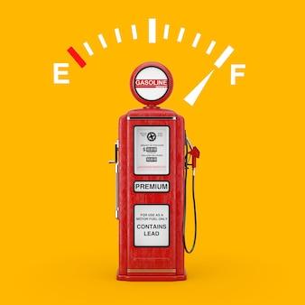 Знак датчика приборной панели топлива, показывающий полный бак с красной ретро бензоколонкой на желтом фоне. 3d рендеринг