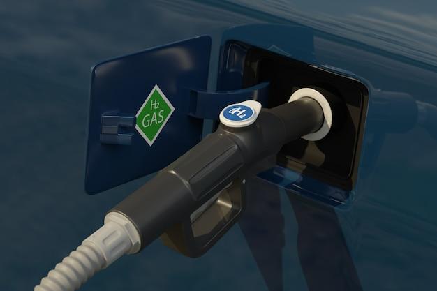 Fuel dispenser with hydrogen logo on gas station.