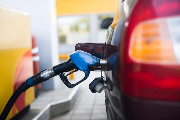 Fuel gasoline car in gas station