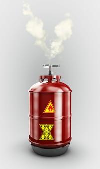 Бизнес-концепция производства топливной промышленности: 3d-рендеринг красного металла сжиженного сжатого природного пропанового газа