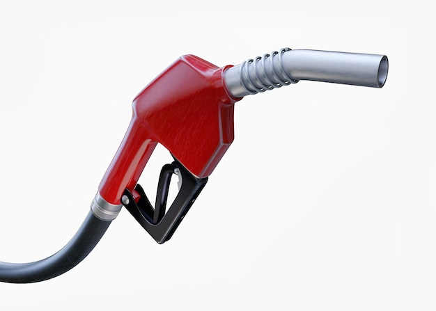 Fuel nozzle, close up view on white with clipping path. 3d render illustration