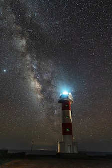 Fuencaliente lighthouse with the milky way on the route of the volcanoes south of the island of la palma, canary islands, spain