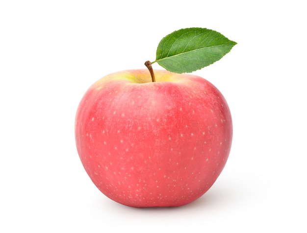 Fuji apple with leaf isolated on white backgrpund with clipping path.