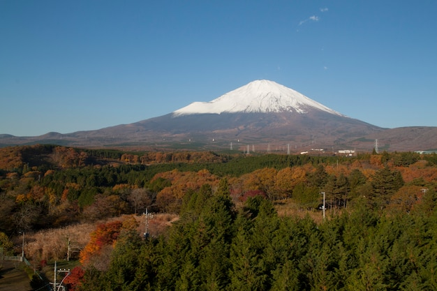 Fuji mountain in autumn at japan