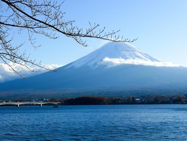 Fuji mountain in the autumn in kawaguchiko lake, japan
