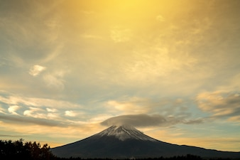 Fuji mountain in japan, morning sky in autumn.