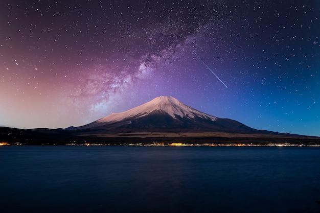 Fuji mountain at night with milky way galaxy