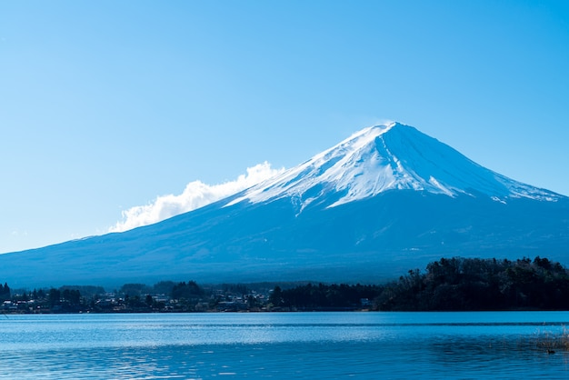 Fuji mountain with kawaguchiko lake and blue sky