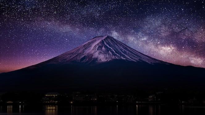 Fuji mountain with milky way at night.