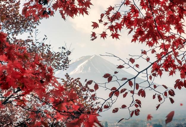 Fuji-san mountain in red leaves maple in autumn at kawaguchiko lake