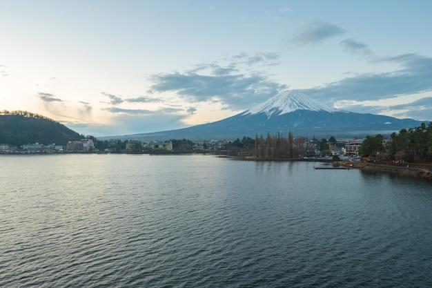 Fujisan mountain the highest mountain in japan with view of lake kawagushiko.