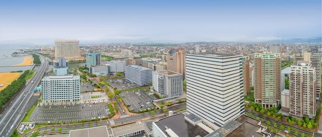 Fukuoka panorama cityscape from fukuoka tower, japan.