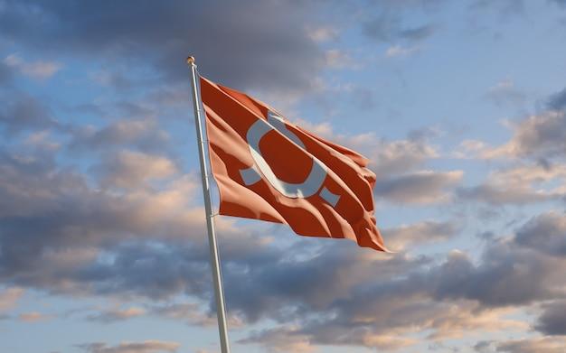 Флаг префектуры японии фукусима на небе. 3d изображение