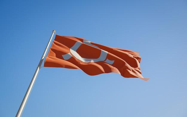Фукусима префектура японии низкий угол флаг. 3d изображение