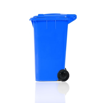 Full blue recycling bin with plastic