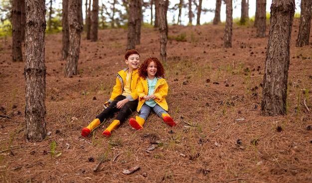 針葉樹のある秋の森の乾いた草の上に座って、同様の黄色のレインコートとゴム長靴を身に着けている陽気な小さな赤毛の姉と弟の全身