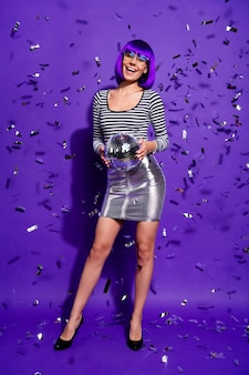 Full body photo of sweet youth hold discotheque ball scream wear eyeglasses eyewear isolated over purple violet background