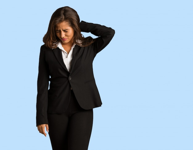 Full body young busines woman suffering neck pain