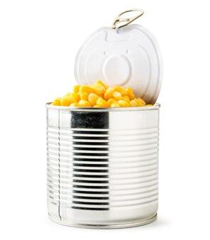 缶詰のトウモロコシのクローズアップのフル缶分離
