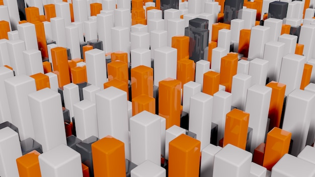 Full color squares extruded abstract 3d cityscape