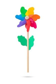 Полноцветная игрушка ветряная мельница на изолированном белом фоне