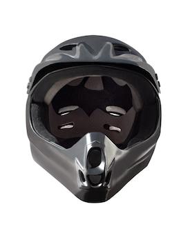 다운 힐 산악 자전거, bmx 및 모토 크로스 라이딩을위한 풀 페이스 블랙 헬멧.