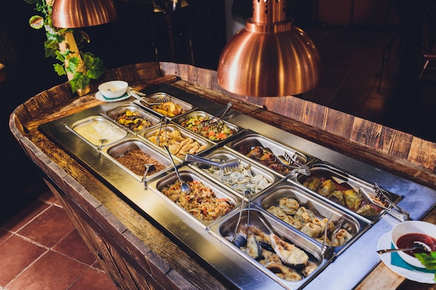 Full food showcase of variety meals. bar