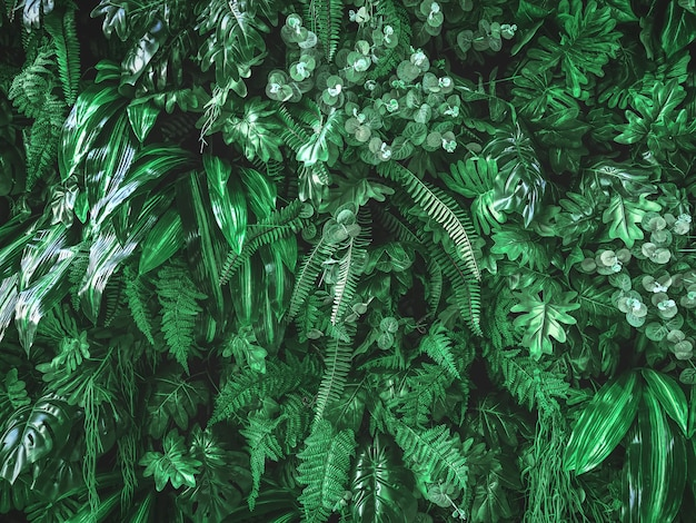 Full frame background of green artificial plants wall