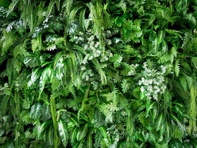 Full frame background of green artificial plants