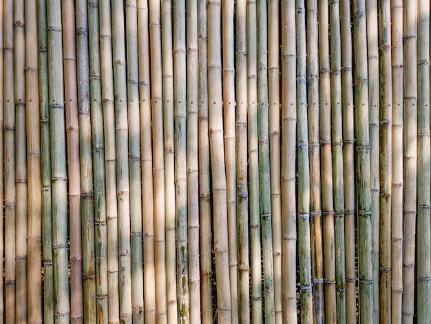 Full frame background of traditional bamboo sticks wall