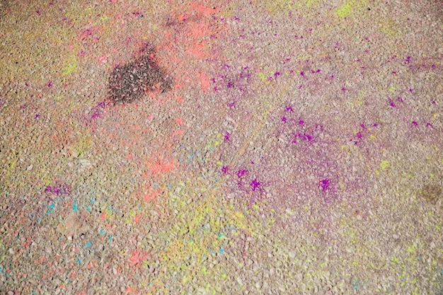 Full frame of holi colors on the ground